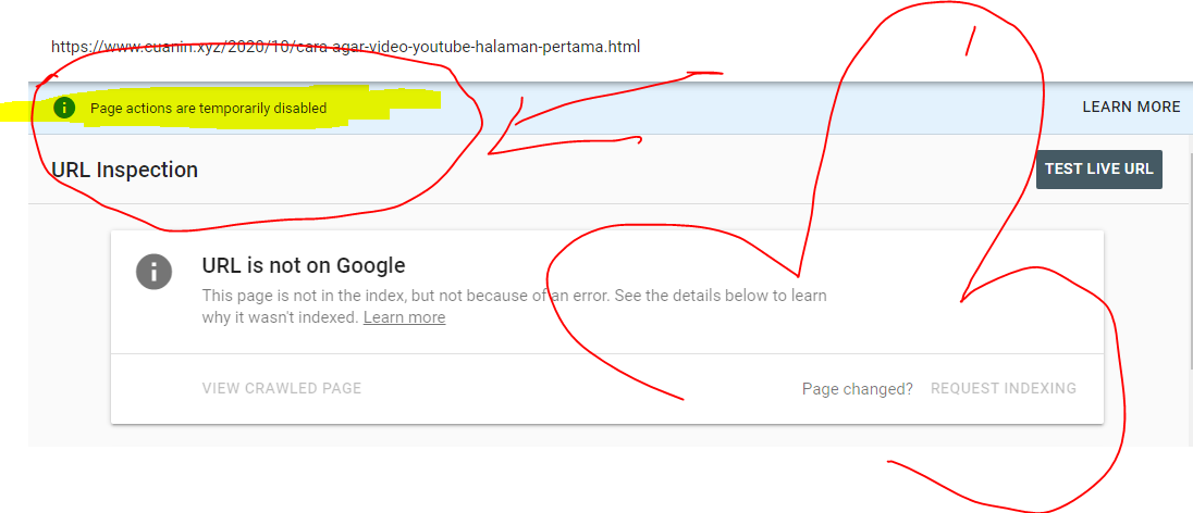 "Cara Mengatasi Gagal Index Artikel Google Search Console ""Page actions are temporarily disabled''"