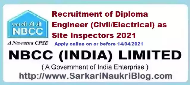 NBCC Diploma Engineer Site Inspector Recruitment 2021