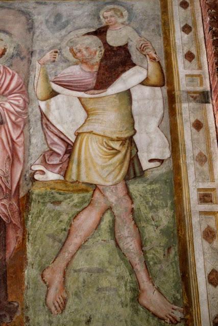 Fresco of Saint Christopher by Tomaso da Modena, San Francesco, Treviso.