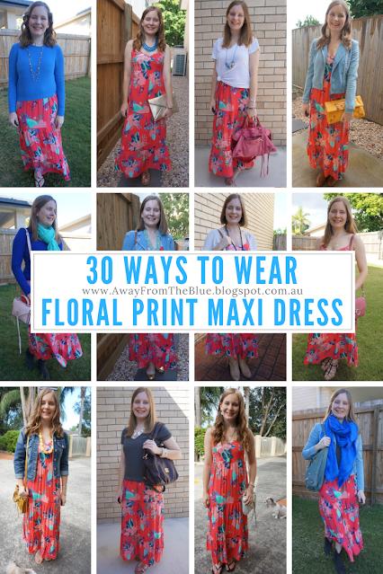 Kmart Tropicana Coral Floral Print Tiered Maxi Dress Worn 30 ways wardrobe remix   away from blue blog