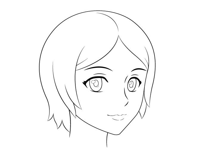 Anime perempuan wajah 3/4 tampilan gambar garis