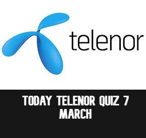 Telenor Quiz Answers 6 March   Today Telenor Quiz  Telenor Answers 6 March 2021