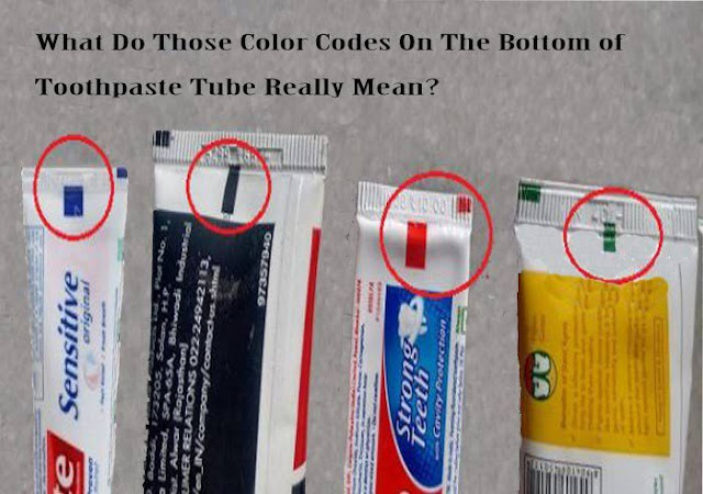 do you know the meaning of this cubical colorful sign in the bottom of toothpaste tube