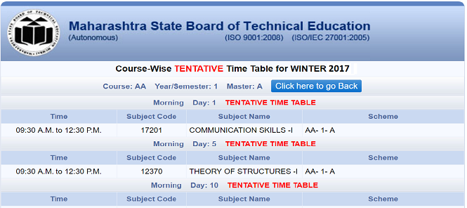 MSBTE TimTable Winter 2017