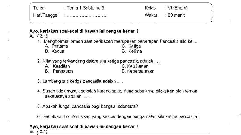 Soal Ulangan Kelas 6 Tema 1 Subtema 3 dan Kunci Jawabannya