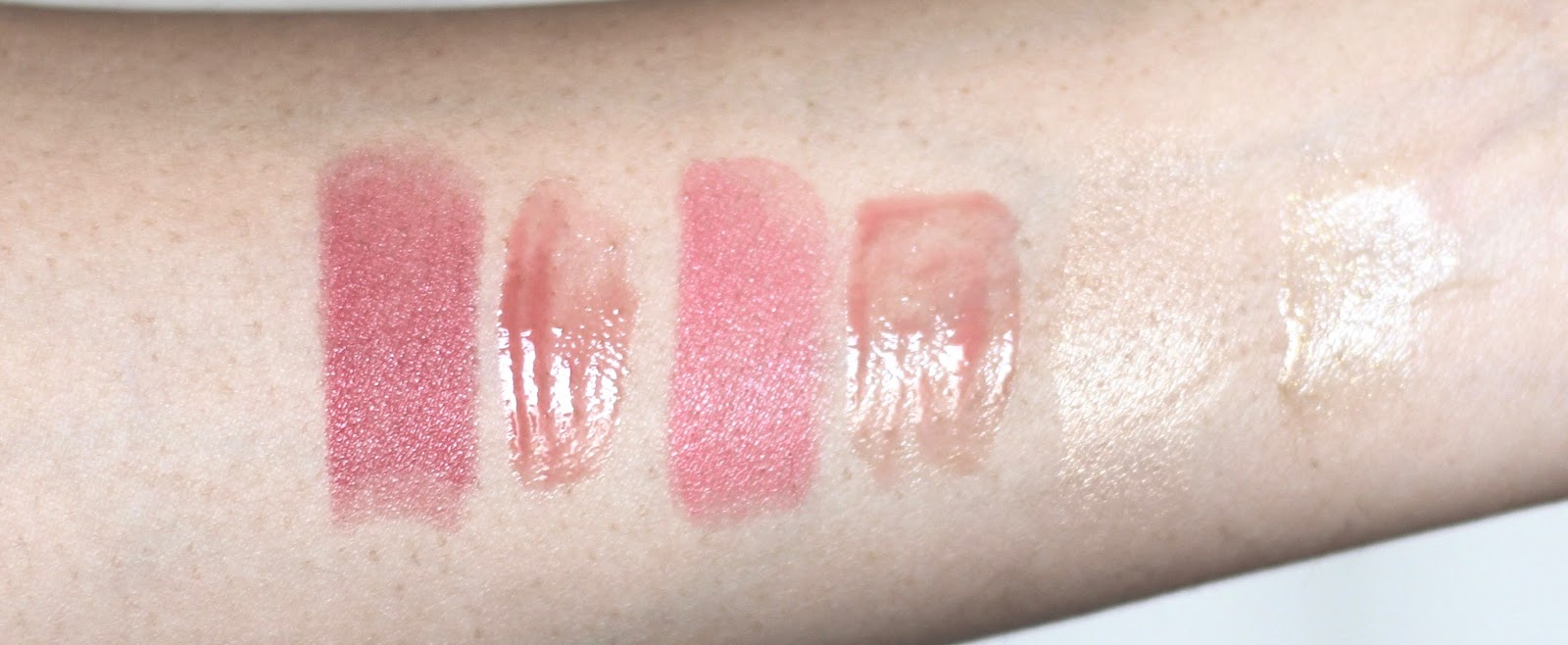 Lip and cheek glow swatches