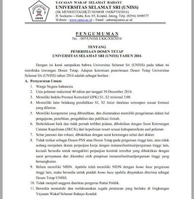 Lowongan Dosen Universitas Selamat Sri (UNISS)