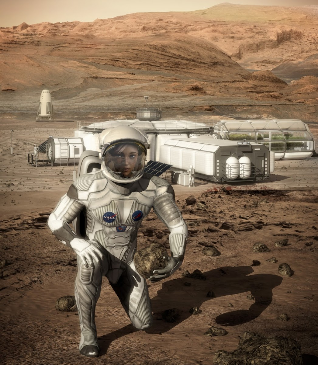Female astronaut in front of Mars base by Bryan Versteeg