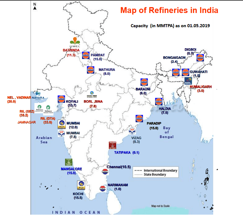 petroleum refineries in india map Oil Refineries In India Gk Book petroleum refineries in india map