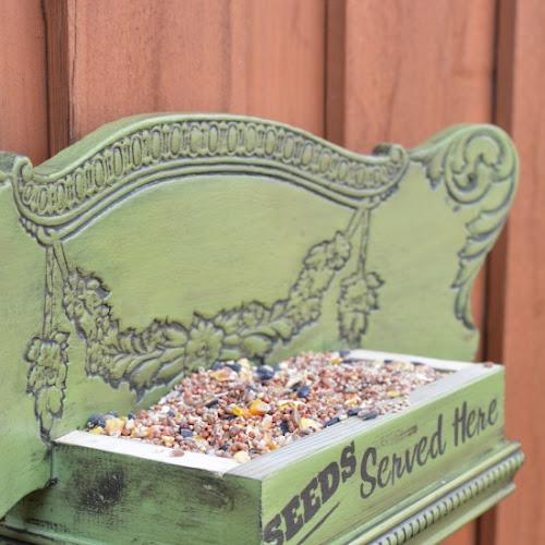 Repurposed Antique Chair Back Bird Feeder