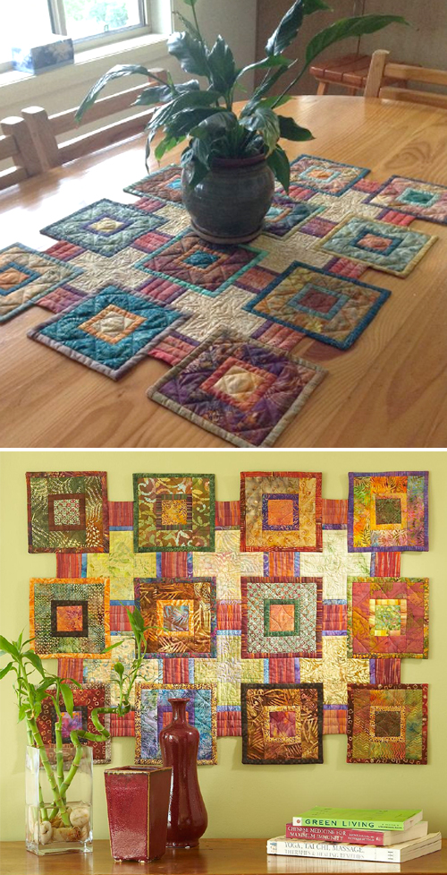 Log Cabin Table Topper or Wall Hanging - Free Quilt Pattern