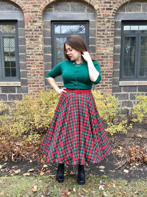 bottle green tartan circle skirt