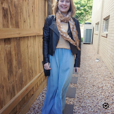 awayfromblue Instagram | chambray maxi skirt in winter with leather jacket scarf knit and ankle boots