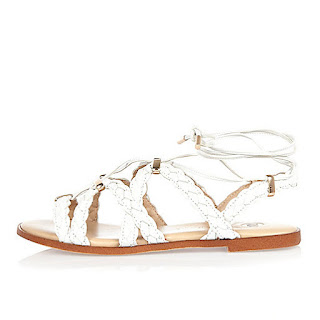 River Island white plaited lace-up sandals