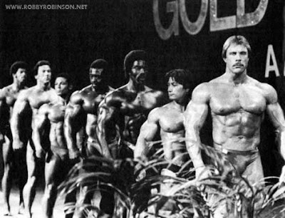 """Left to right - Bill Grant, Boyer Coe, Mohamed Makkawy,  Roy Callendar, Robby Robinson, Danny Padilla, Pete Grymkowski Read about RR's training and life experience, about other legends  of Golden Era of bodybuilding and what really happened behind  the scenes of Weider's empire - in RR's BOOK  """"The BLACK PRINCE; My Life in Bodybuilding: Muscle vs. Hustle"""" -  ▶ www.robbyrobinson.net/books.php"""