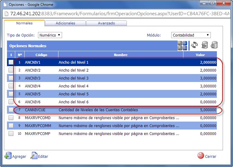 Formulario de Opciones de Contabilidad - Configuración del Plan de Cuentas en eFactory Contabilidad