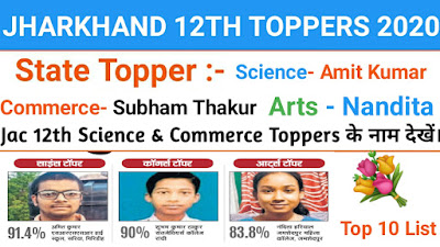Jac board topper list, jac board 12th toppers list, jac board 12th toppers Mark's,  jac board top 10 list 2020