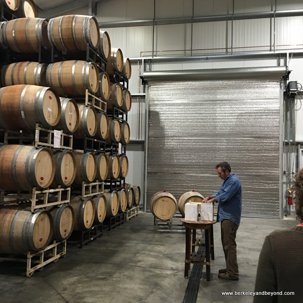 barrel room at Matchbook Winery in Zamora, California
