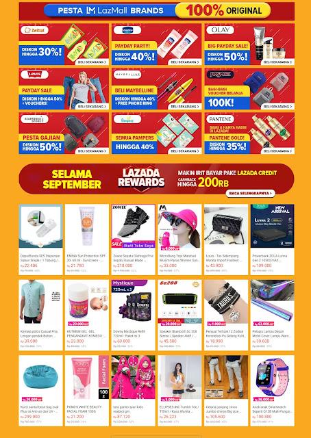 #Lazada - #Promo Pesta Gajian Dapatkan Diskon 80% + Sebar 99K + Gratis Ongkir (s.d 30 Sept 2019)