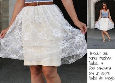 Falda de fiesta con un trozo de encaje