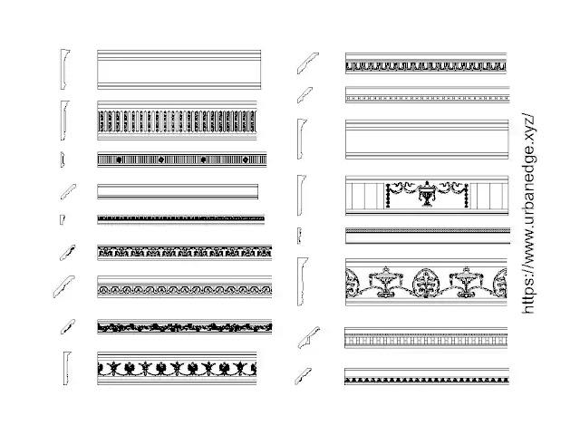 Cornices moldings cad blocks free download, 30+ Cornice cad blocks