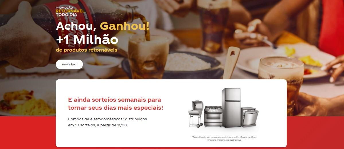 Promoção Achou, Ganhou Coca-Cola 2021 Retornável Todo Dia