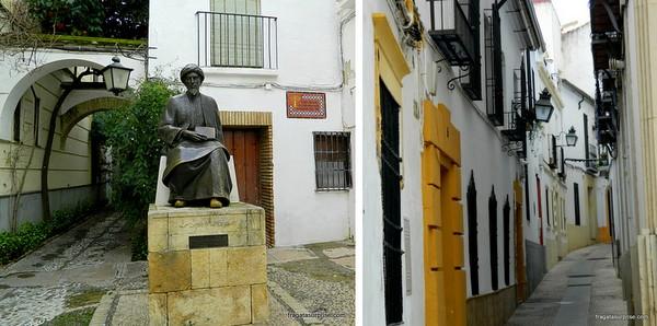 A estátua do filósofo Maimonides e uma rua típica da Judería de Córdoba