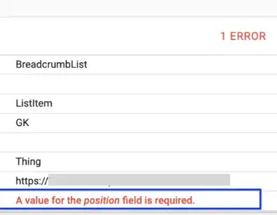 """How to Fix """"A Value for the Position Field is required"""" error for BreadCrumbList"""
