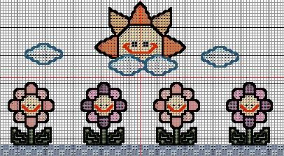 esquemas cenefa punto de cruz flores con sol