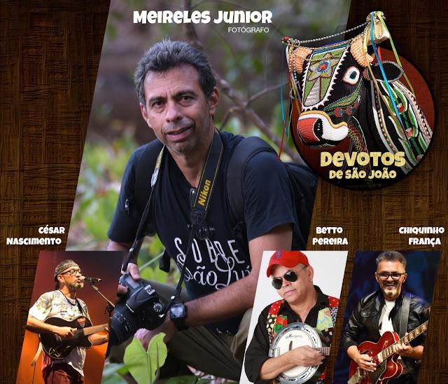 Estão à frente da Live Beneficentes Devotos de São João: O fotógrafo Meireles Jr. e os músicos Betto Pereira, Chiquinho Franca e César Nascimento.
