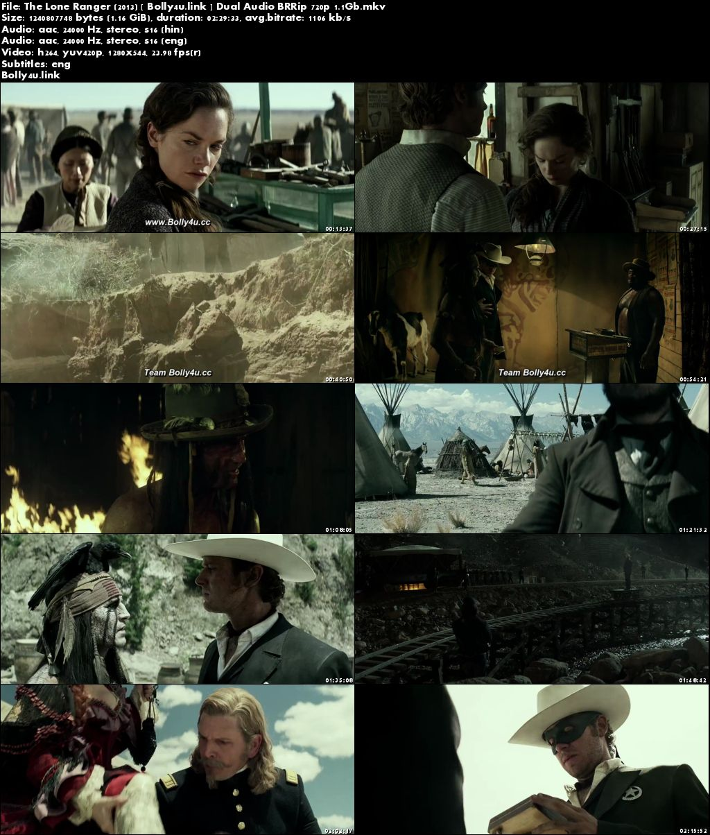 The Lone Ranger 2013 BRRip Hindi Dual Audio ORG 720p ESub Download