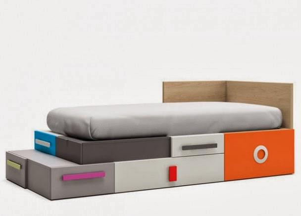 cama con cajones de colores
