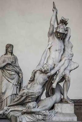 Antica statua dello stupro di Polissena, Signoria, a Firenze, Italia. In definitiva, la verità dietro la storia di Agnes Bowker era che era vittima di abusi.