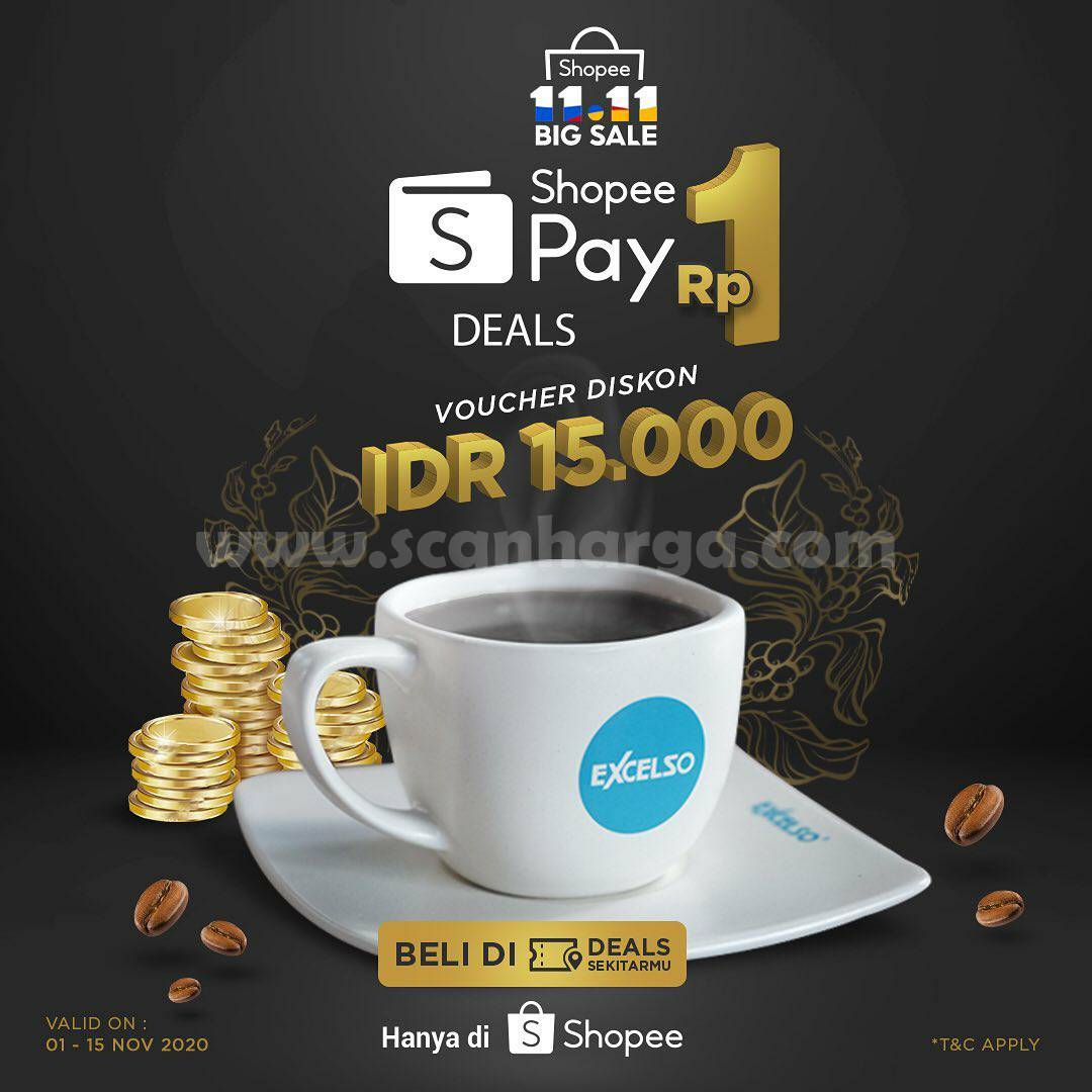 Excelso Coffee Promo Voucher Diskon ShopeePay hanya Rp 1,-