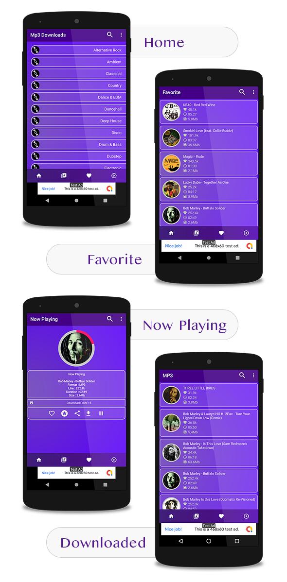 Venta de Aplicación para descargar y reproducir Música Mp3 (Ingresos con Admob & Facebook)