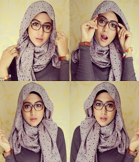 tutorial hijab segi empat sederhana terbaru berkacamata