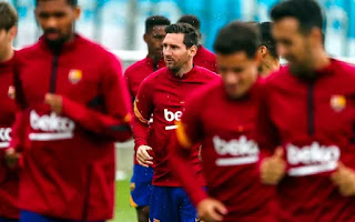 Pictures: Messi and coutinho rejoins Barca group training after two day of individually training due to La Liga strict rules.