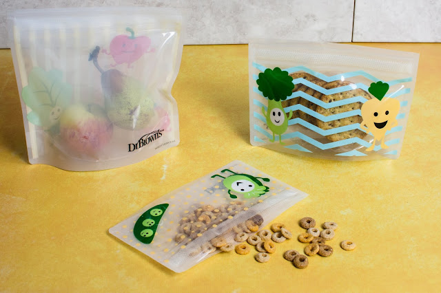 Dr Brown's Tummy Grumbles reusable snack bags with cereal, fruit and crackers in