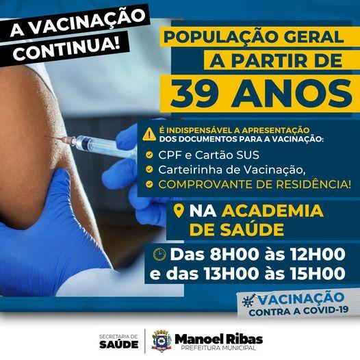Manoel Ribas: Pessoas com 39 anos ou mais poderão se vacinar contra Covid-19