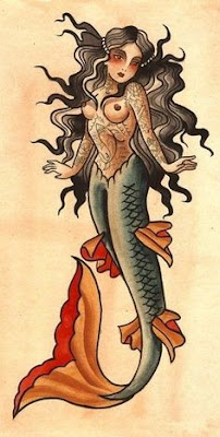 sailor jerry style mermaid tattoo