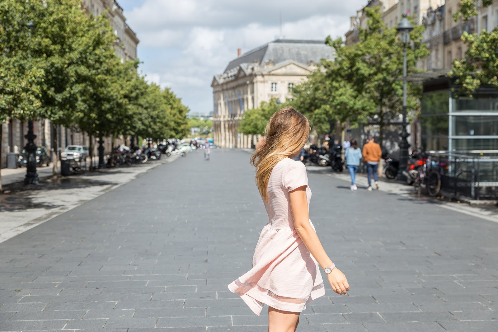 Robe manches courtes rose