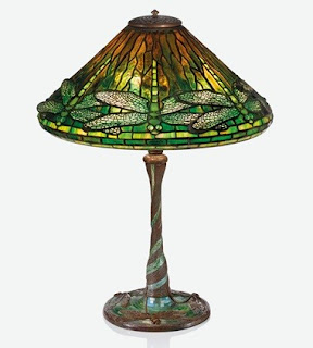 Lámpara odelo Dragonfly de Tiffany con base sencilla