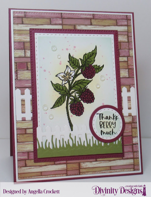 Divinity Designs LLC Raspberries, Rustic Beauty Paper Collection, Dies: Slimline Grasses, Fence, Pierced Rectangles, Double Stitched Rectangles, Double Stitched Circles, Circles, Matting Rectangle, A2 Portrait Card Base with Layer; Card Designer Angie Crockett