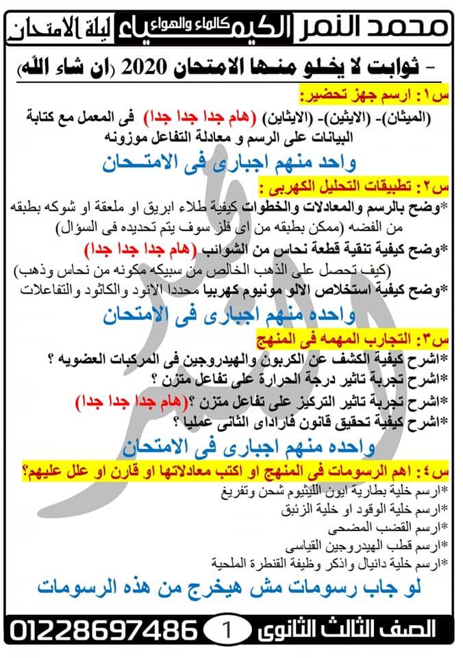 توقعات امتحان الكيمياء للثانوية العامة مستر محمد النمر 4