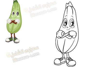 رسومات للتلوين فواكه وخضروات 1