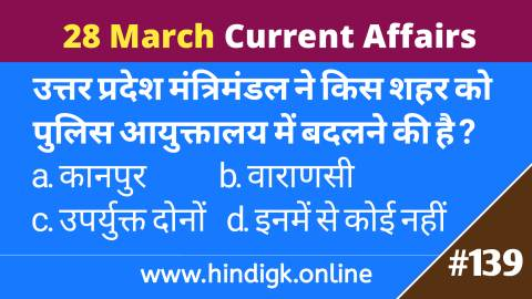 28 March  2021 Current Affairs In Hindi