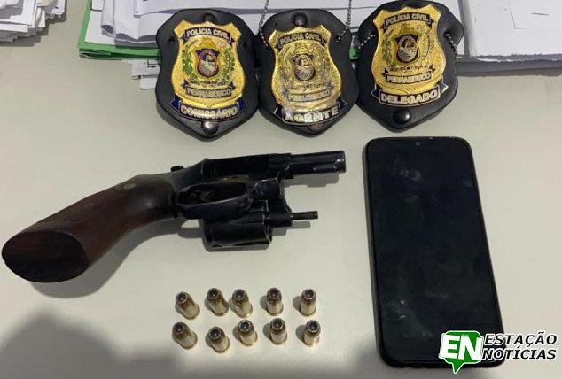 Acusado de homicídio é preso com revolver em Brejo da Madre de Deus