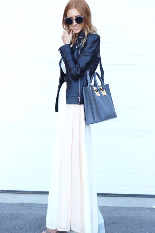 How to style a maxi in the fall, Shop for Jayu sunglasses, Sophie Hulme Albion tote, Le Chateau suede sandals, Pandora white pearl earrings