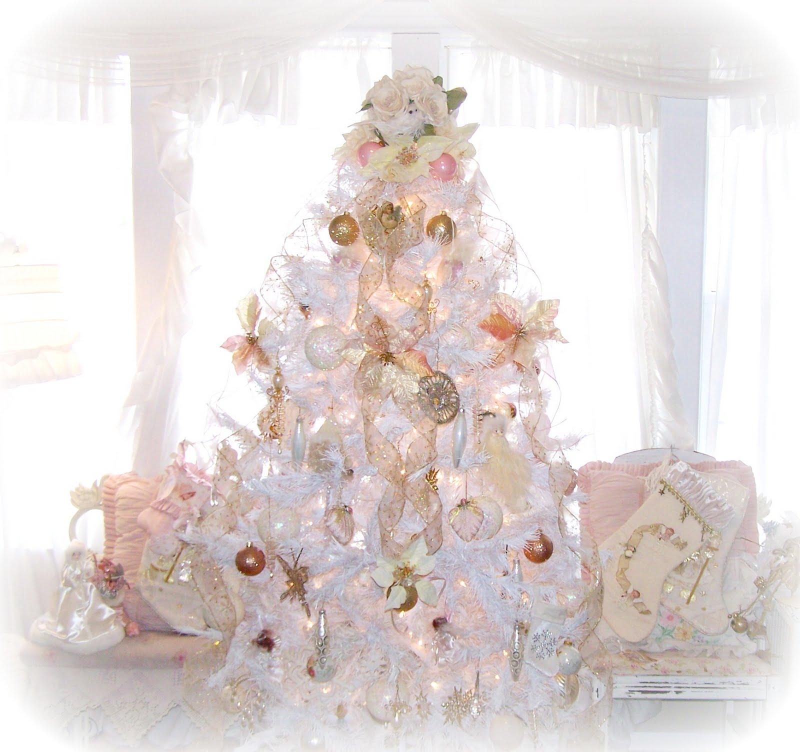olivia 39 s romantic home shabby chic white christmas tree. Black Bedroom Furniture Sets. Home Design Ideas