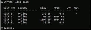 list disk on CMD